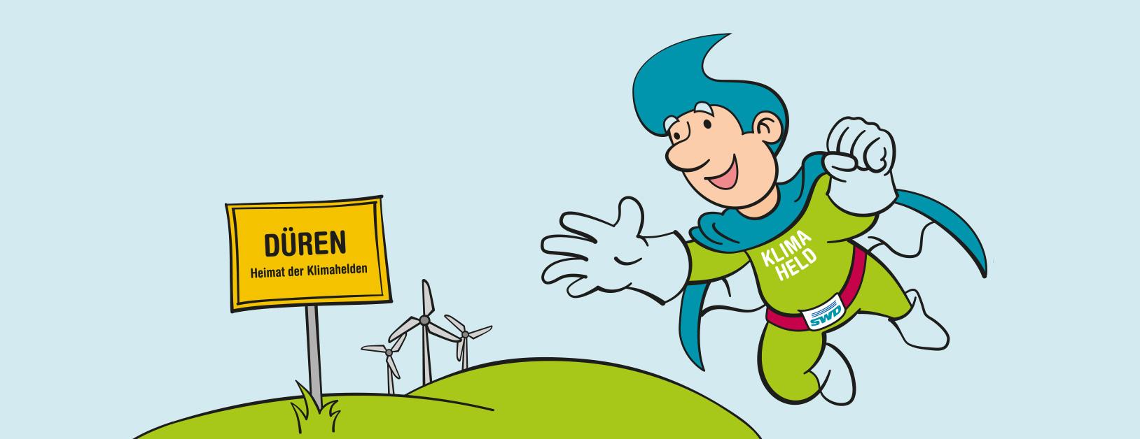 SWD Klimaheld fliegt vor grüner Wiese mit Dürener Ortsschild und Windrädern