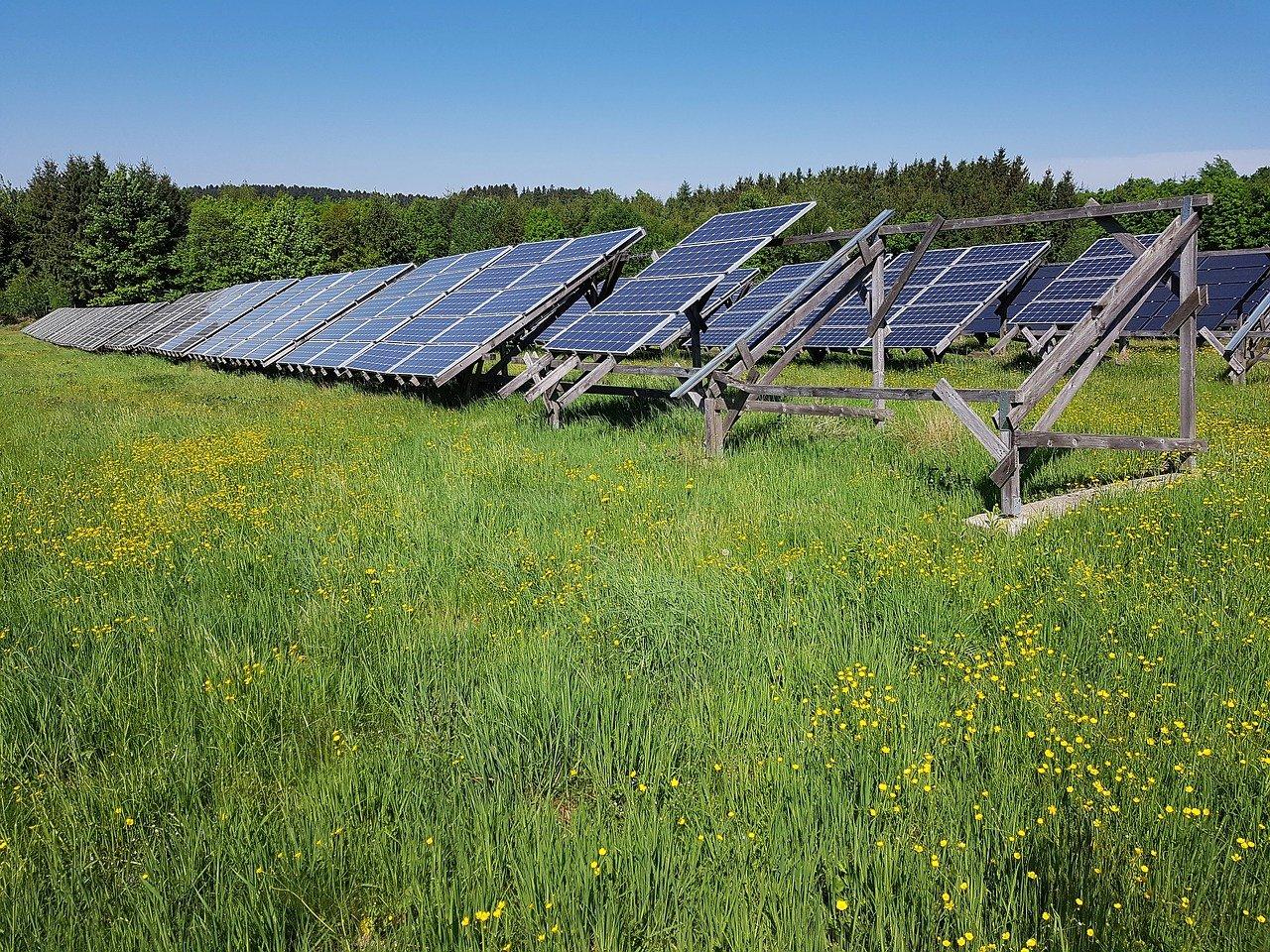 SWD Regionalstrom: Solarpanels im Solarpark Inden im Hintergrund Windräder