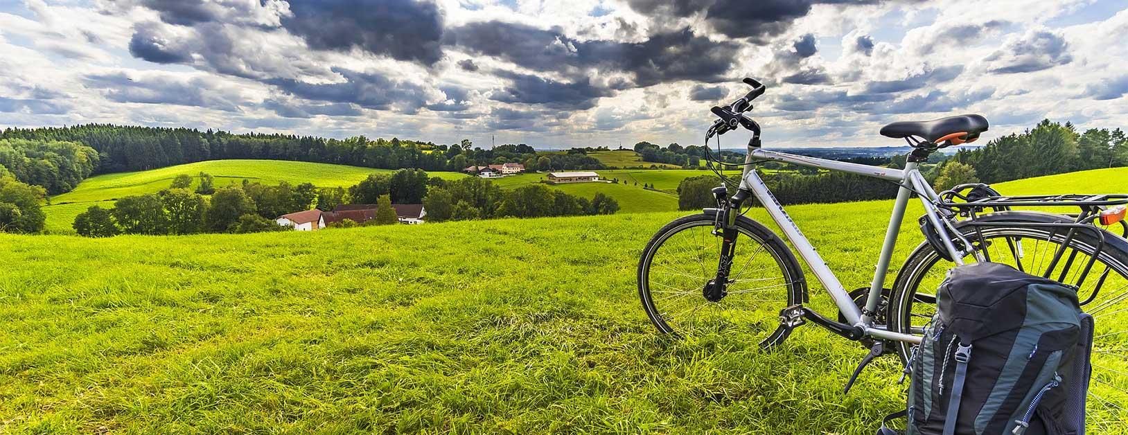 Fahrrad auf grüner Wiese, Horizont im Hintergrund